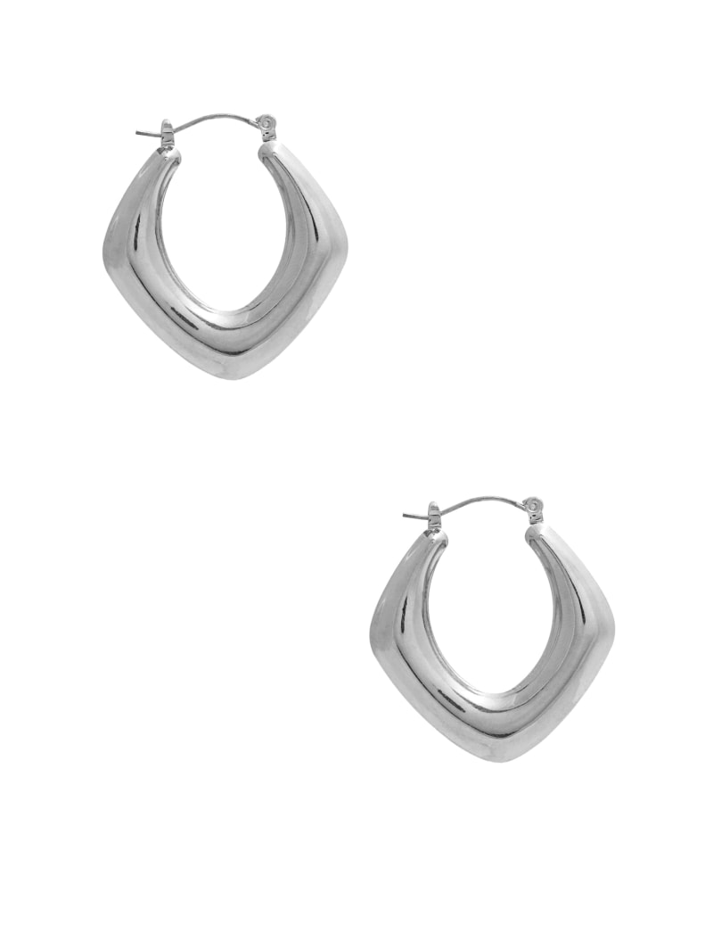 Silver-Tone Thick Oval Hoop Earrings