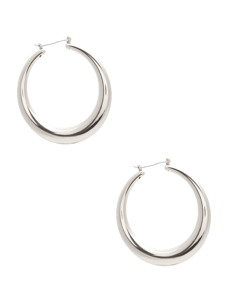 Silver-Tone Crescent Hoop Earrings