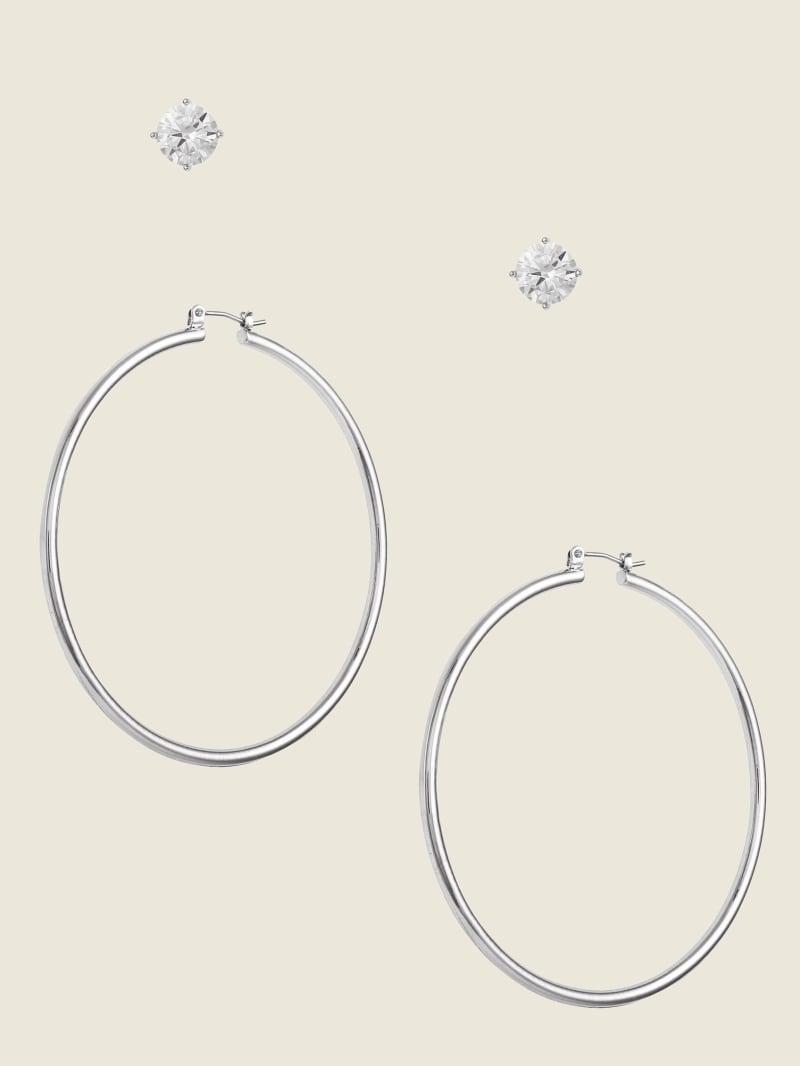 Stud Cubic Zirconia Hoop Earrings Set