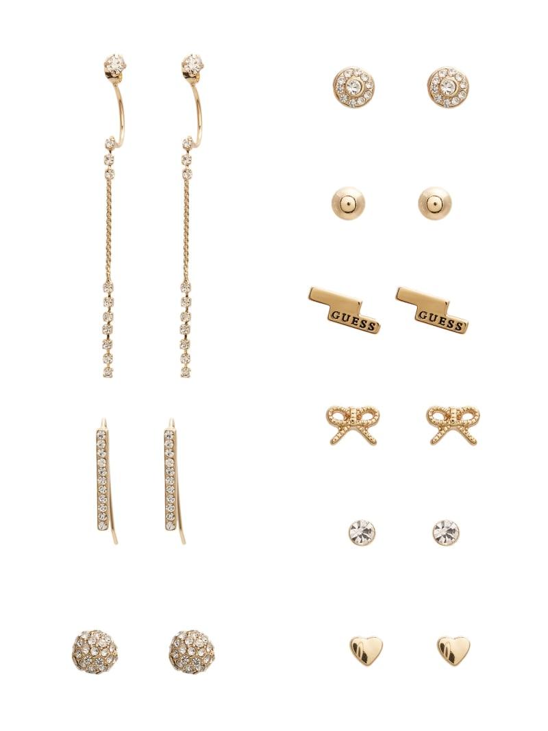 Gold-Tone Rhinestone Earrings Set