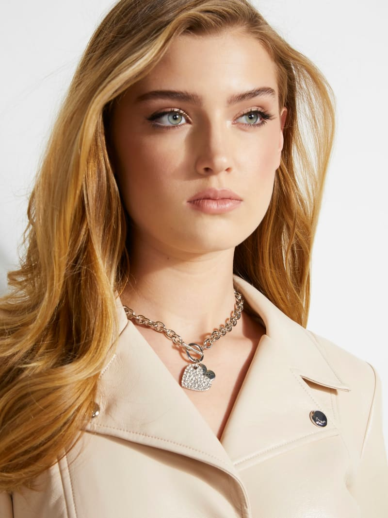 Silver-Tone Pave Heart Charm Necklace