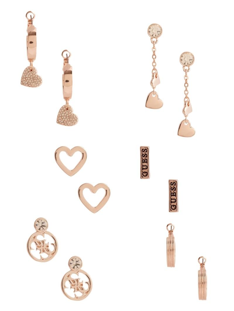 Rose Gold-Tone Pave Heart Earrings Set