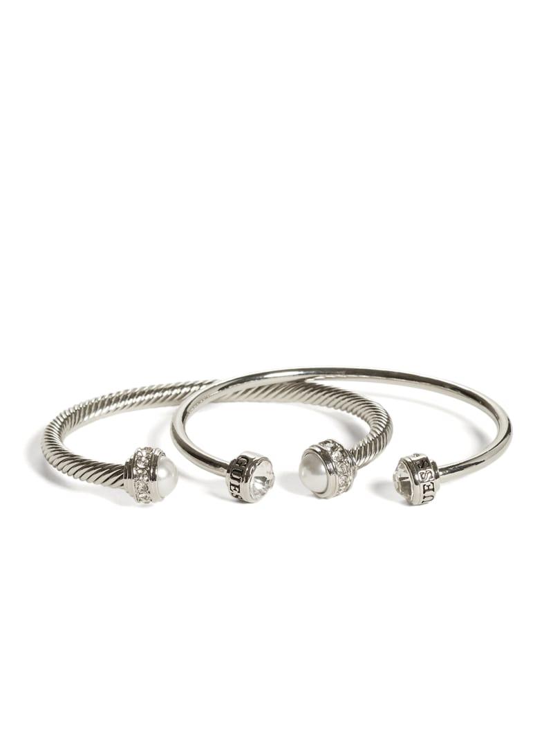 Silver-Tone Pearl Cuff Bracelet Set
