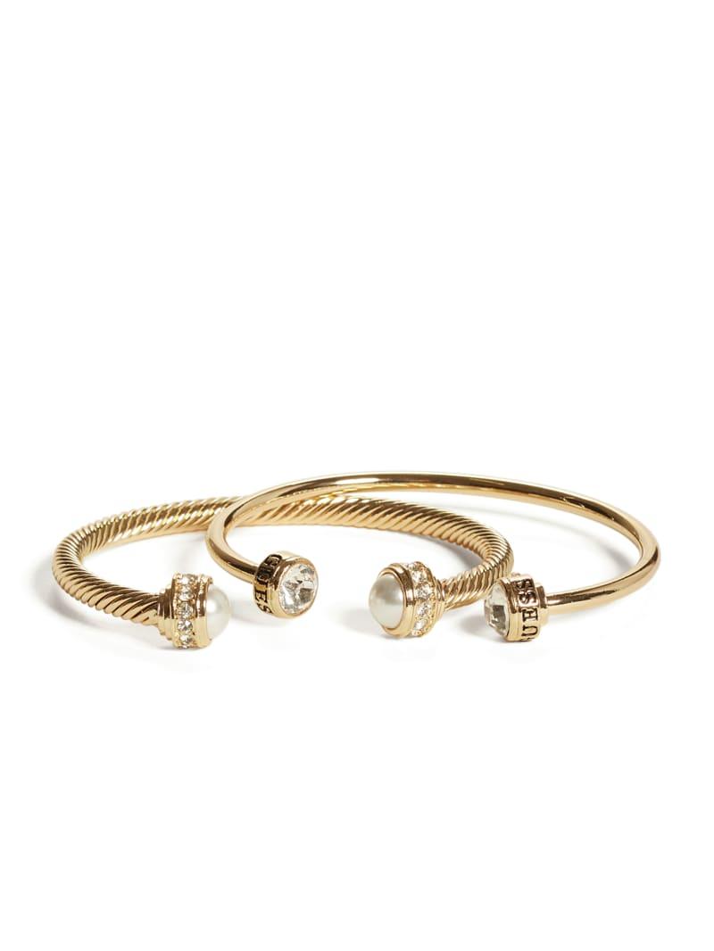 Gold-Tone Pearl Cuff Bracelet Set