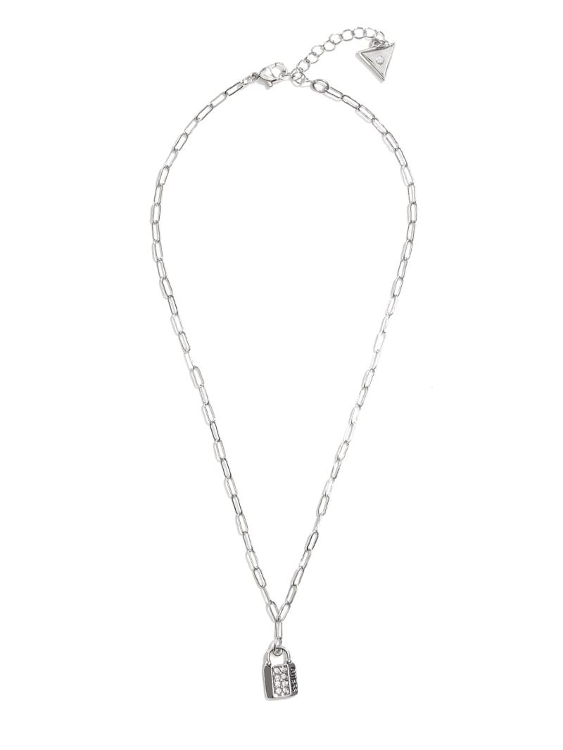 Silver-Tone Lock Necklace