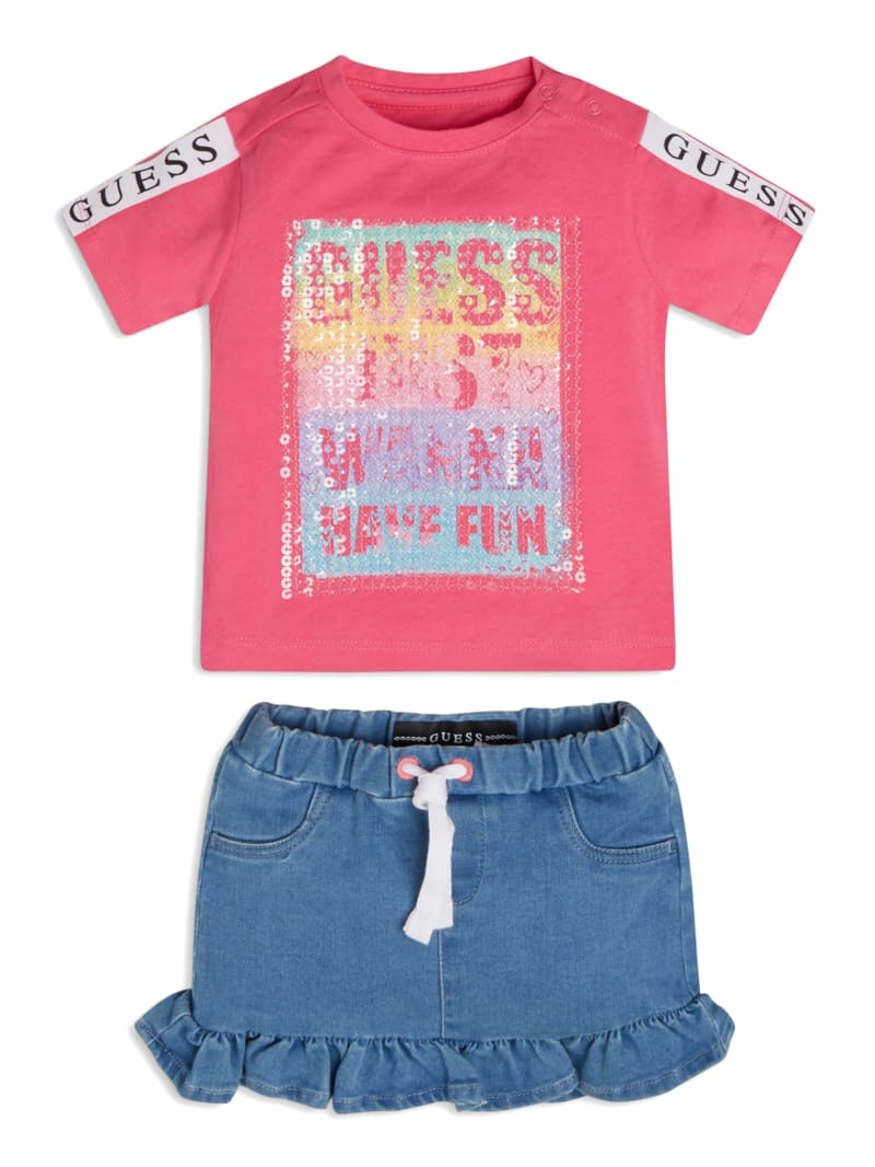 Just Have Fun Sequined Shirt and Skirt Set