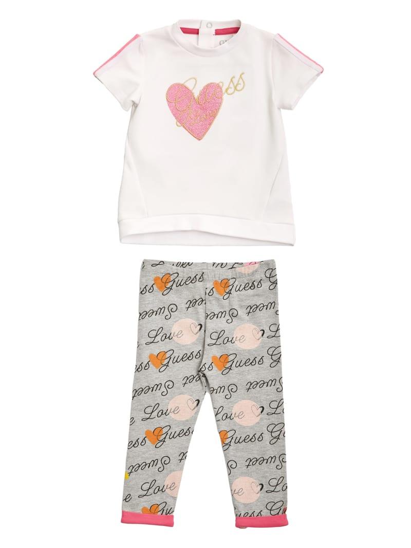 Glitter Heart Tee and Printed Leggings Set (0-24M)