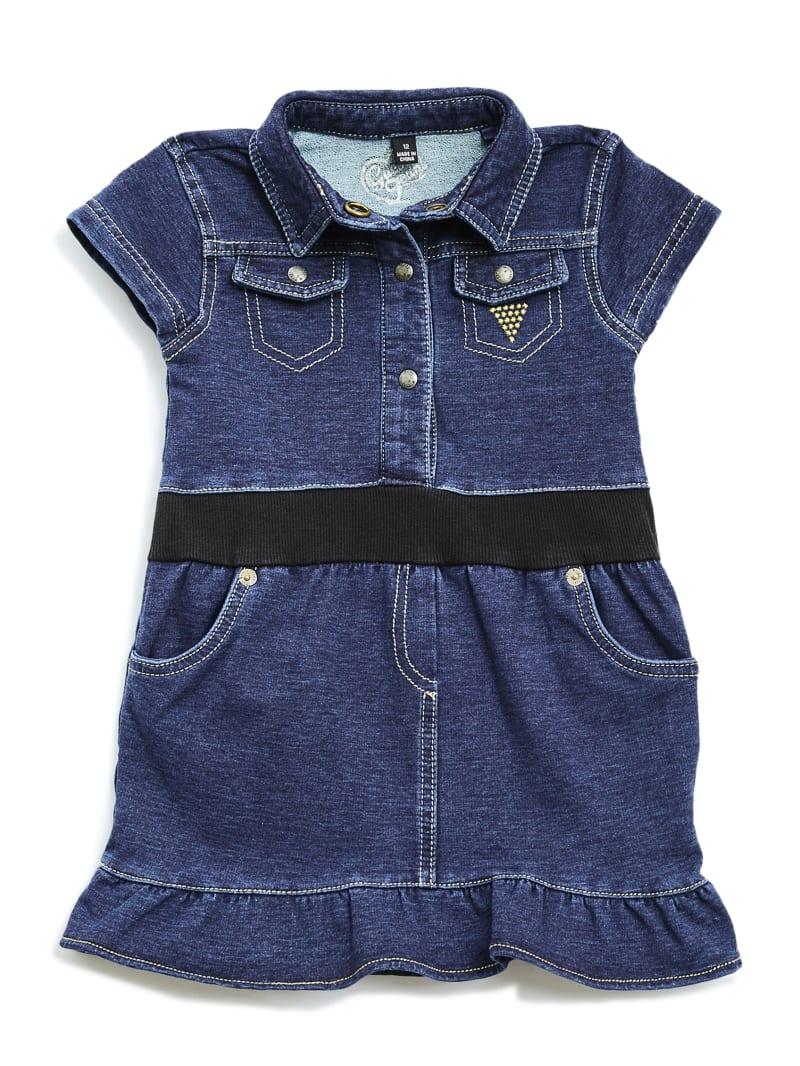 Short-Sleeve Knit Denim Dress (0-24M)