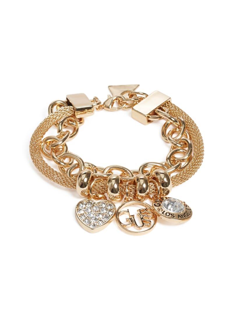 Gold-Tone Mosaic Logo Charm Bracelet