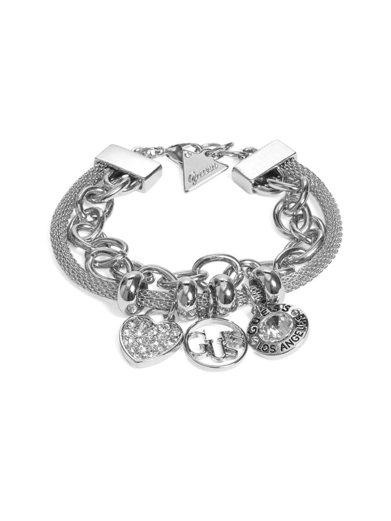 Silver-Tone Mosaic Logo Charm Bracelet