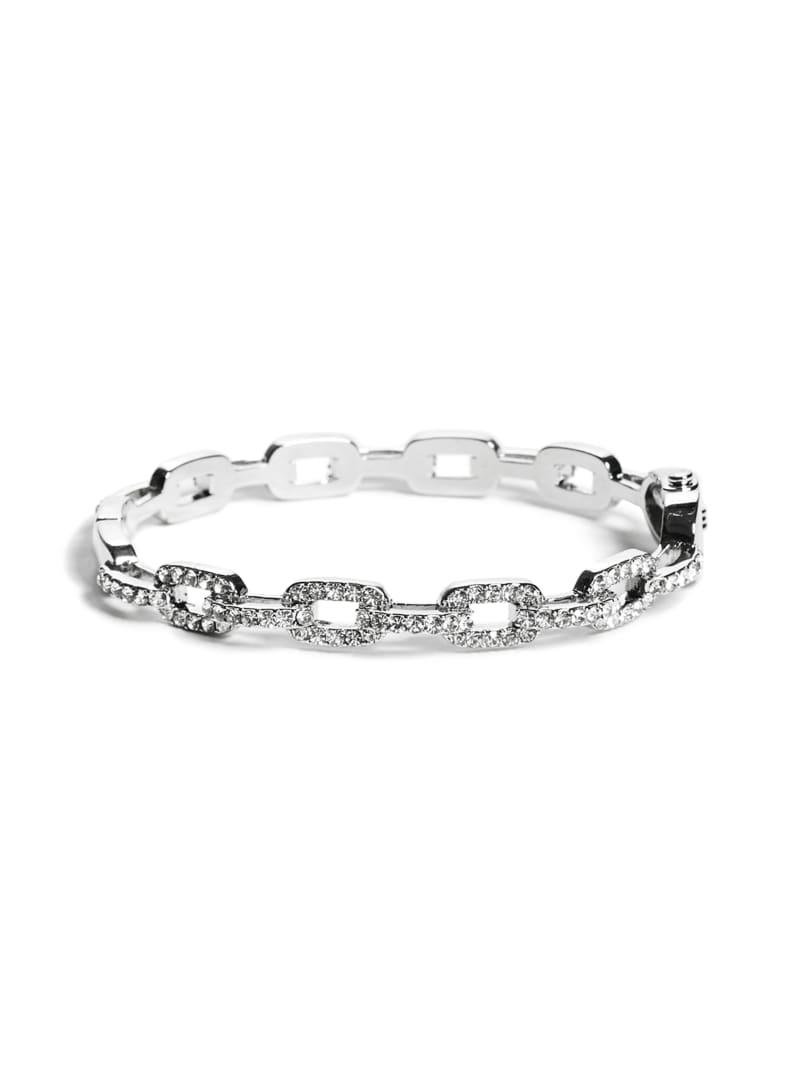 Rhinestone Chain-Link Bangle Bracelet