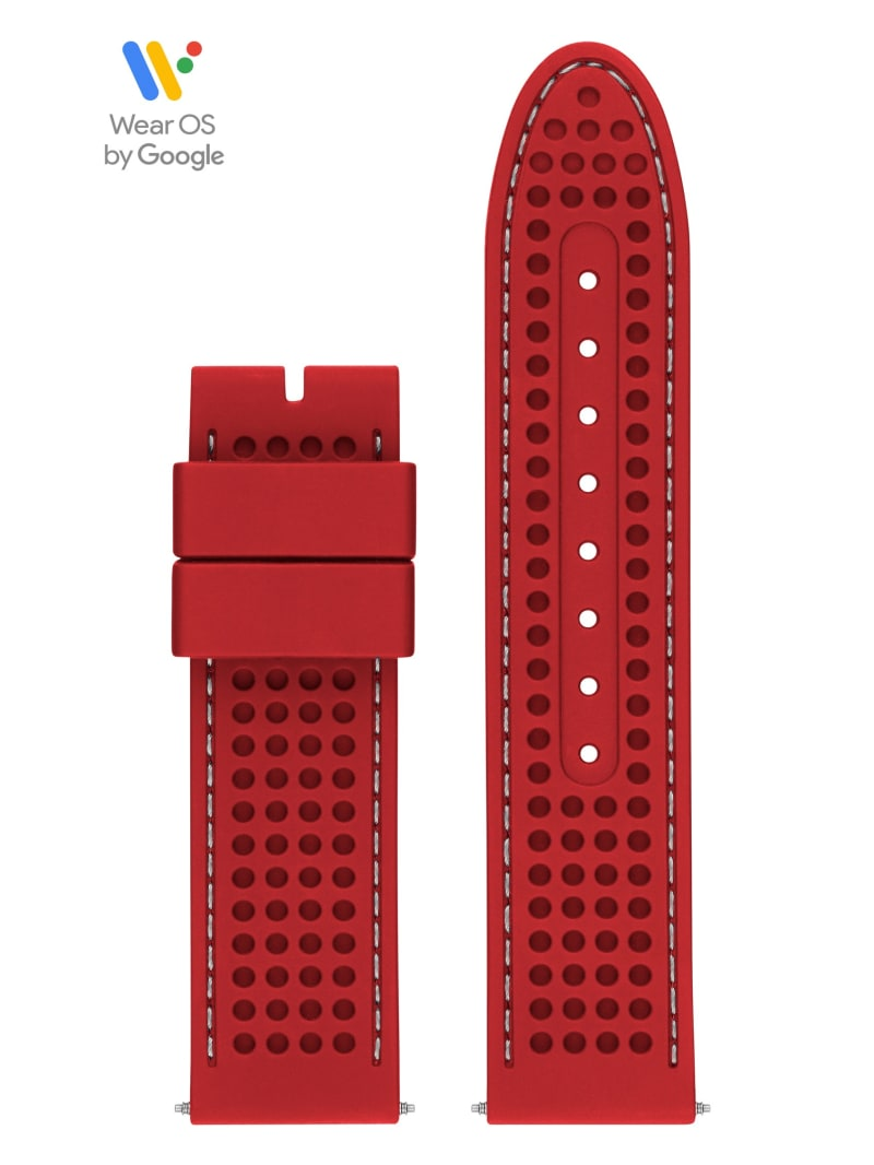 44mm Red Perforated GUESS Connect Smartwatch Touch Strap