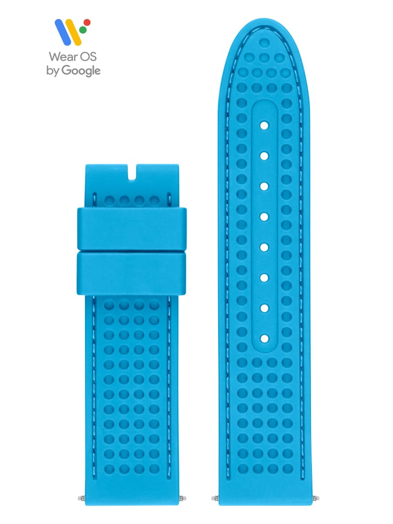 44mm Blue Textured Silicone GUESS Connect Smartwatch Strap