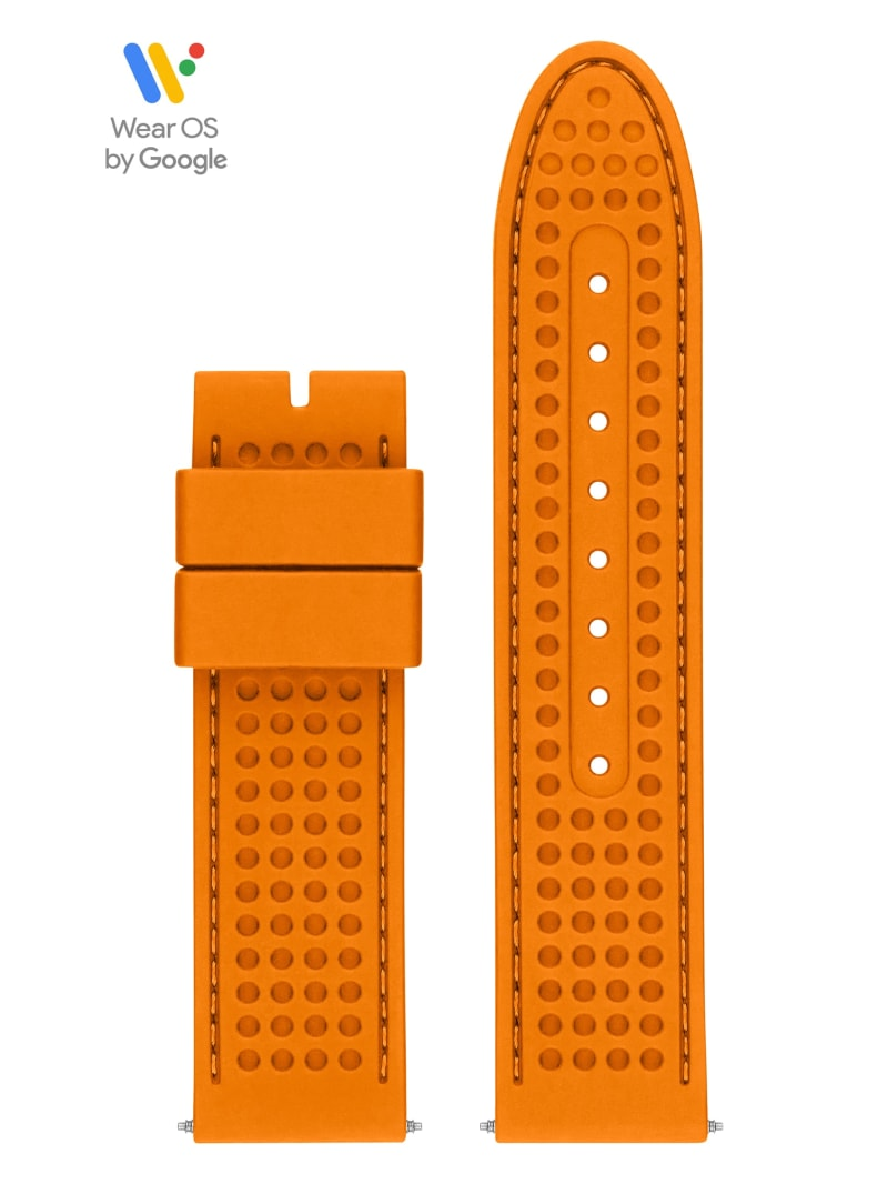 44mm Orange Textured Silicone GUESS Connect Smartwatch Strap