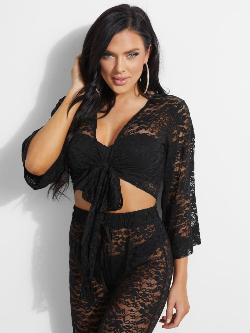 Carla Lace Front-Tie Top
