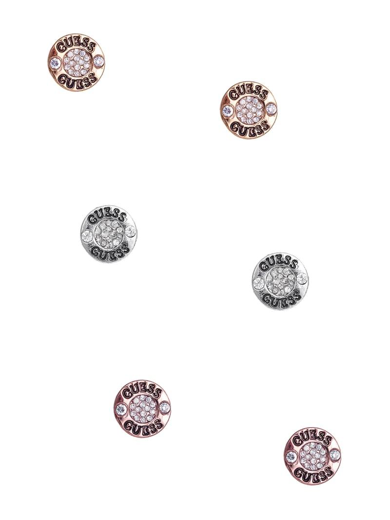 Tri-Tone Logo Button Stud Earrings Set