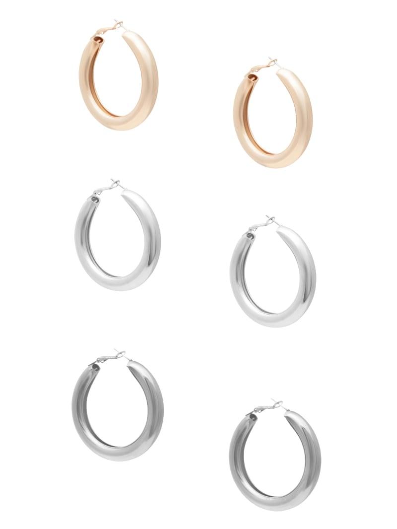 Multi-Tone Chunky Statement Hoop Earrings Set