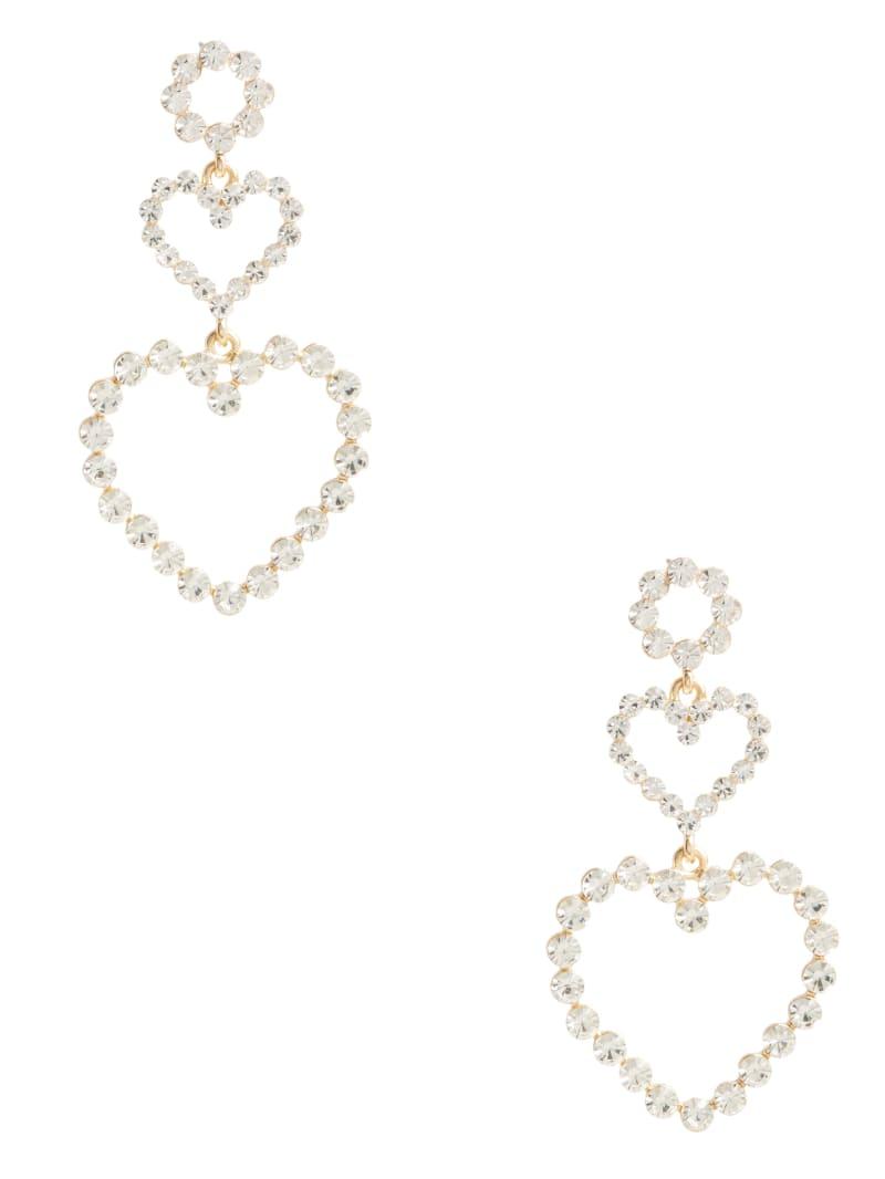 Rhinestone Heart Linear Earrings