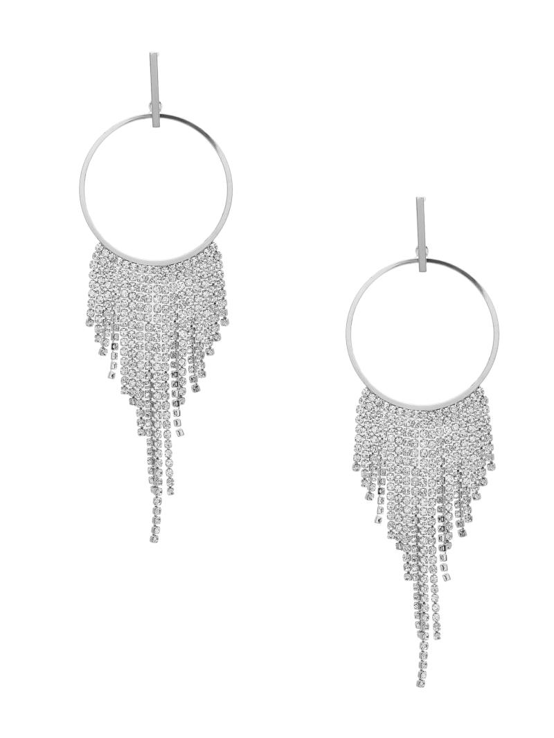 Rhinestone Fringe Hoop Earrings