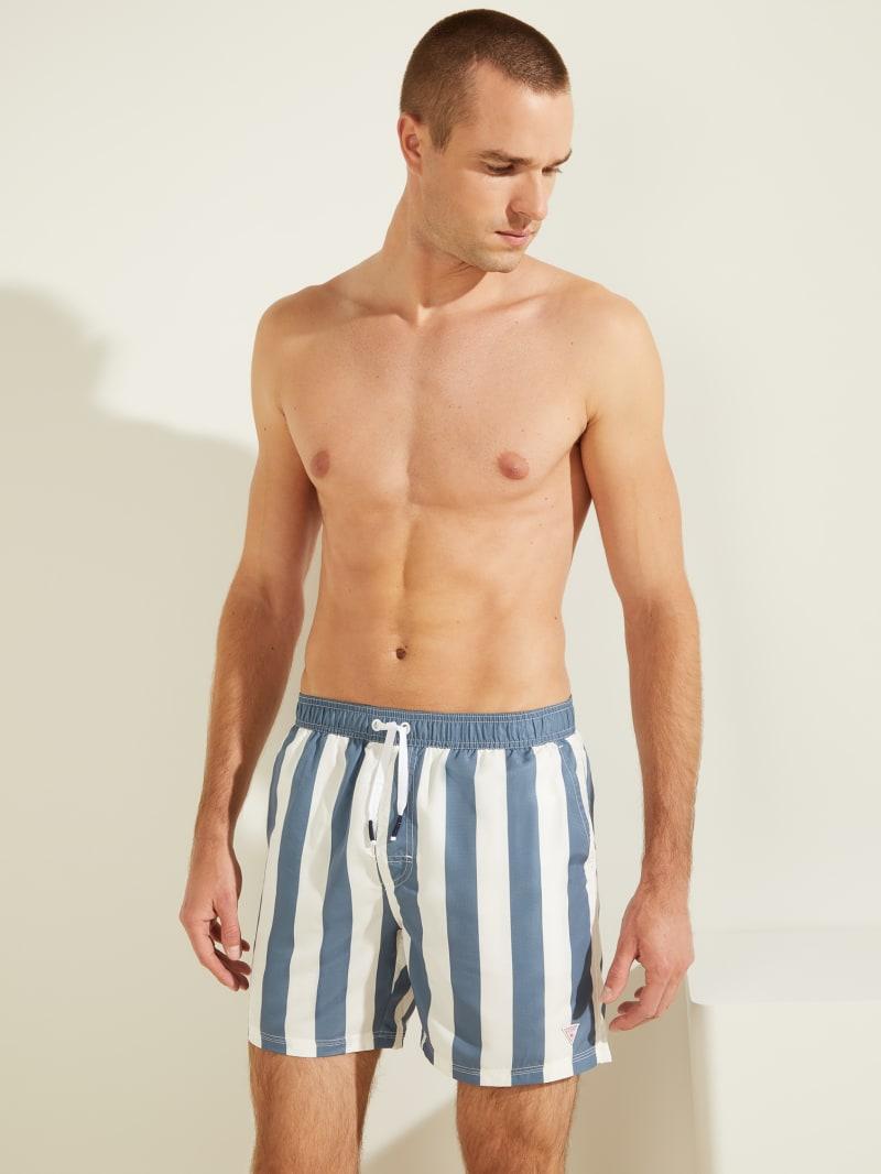 Striped Woven Swim Trunks