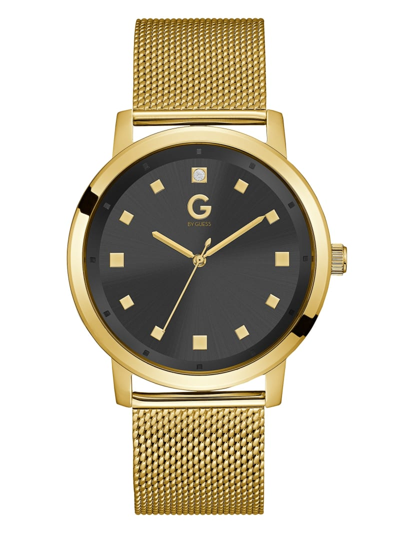 Gold-Tone and Black Crystal Dial Watch