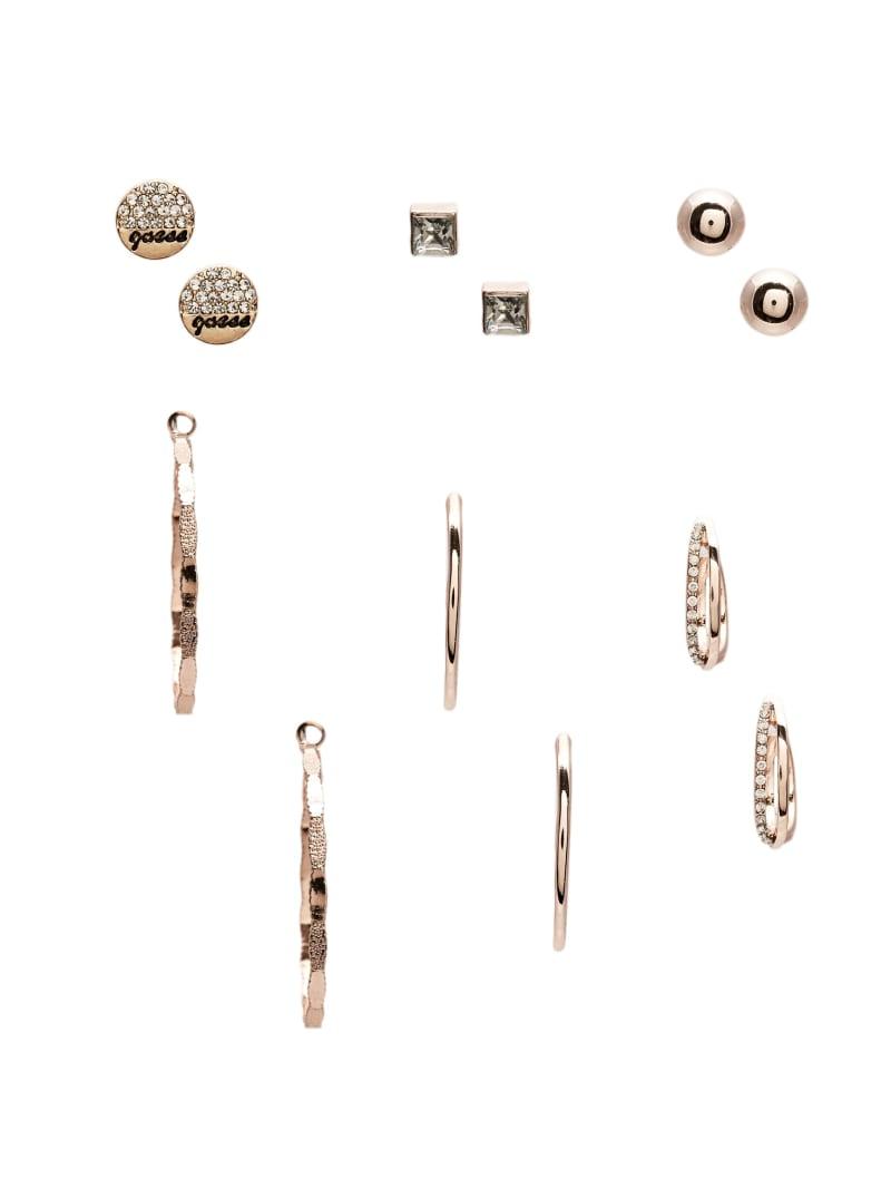 Multi-Tone Stud and Hoop Earrings Set
