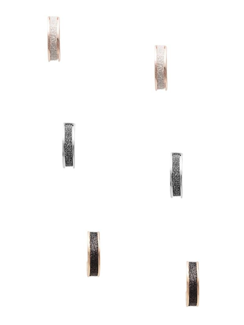Multi-Tone Glitter Hoop Earrings Set