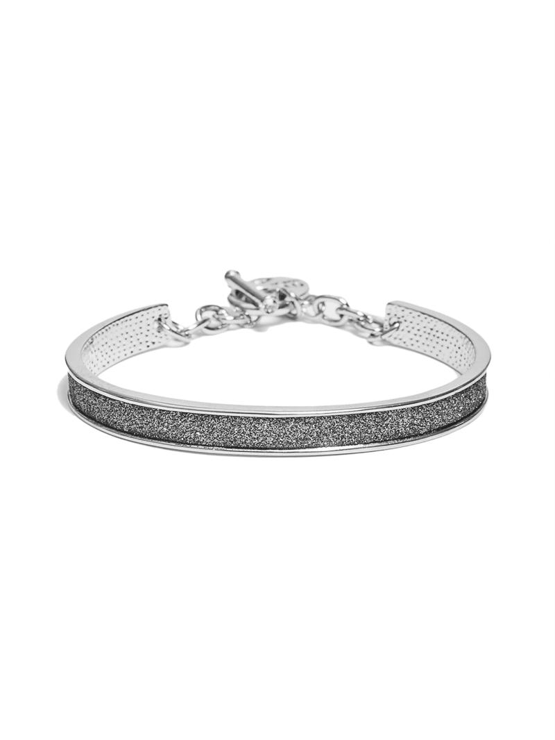 Silver-Tone Glitter Paper Charm Bangle