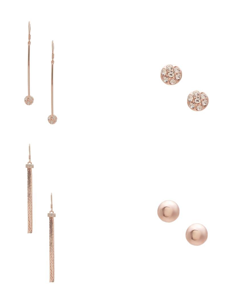 Rose-Gold Tone Fireball Stud and Linear Earrings Set