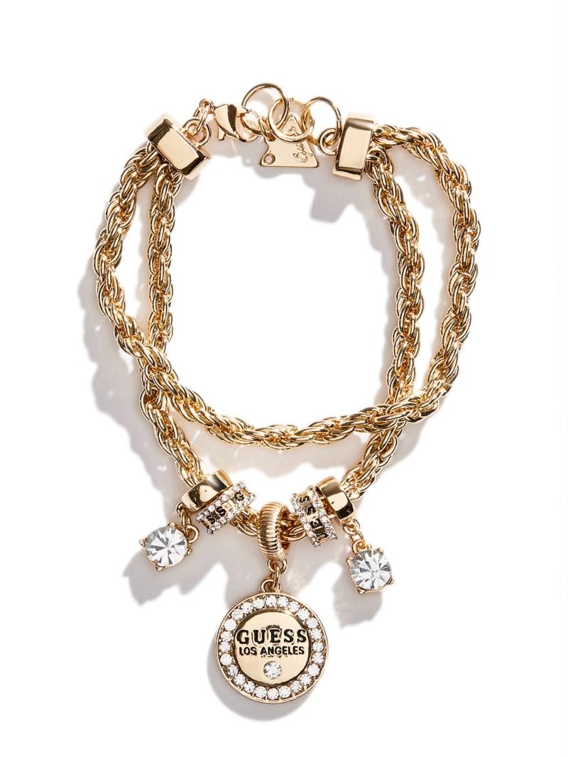 Gold-Tone Chain Logo Bracelet