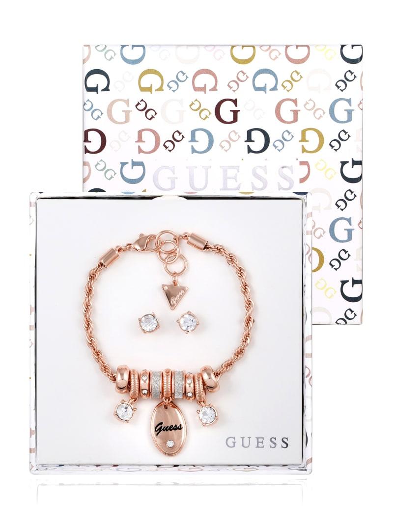 Rose Gold-Tone Glitter Logo Charm Bracelet and Earrings Box Set