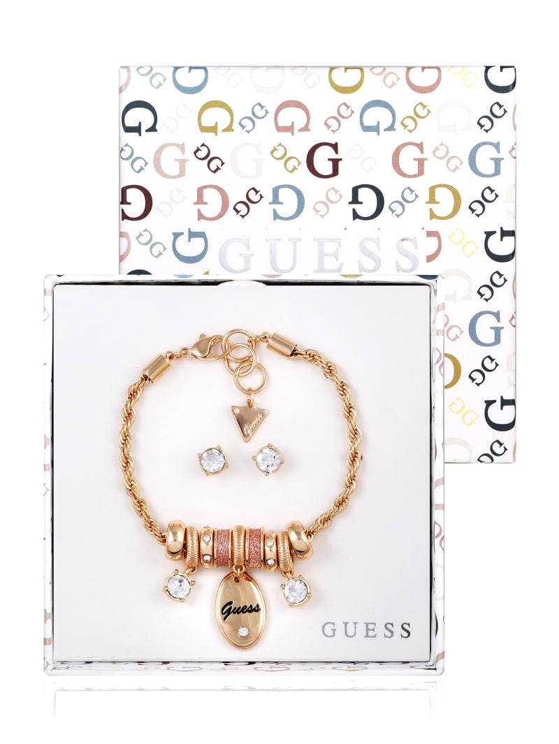 Gold-Tone Glitter Logo Charm Bracelet and Earrings Box Set