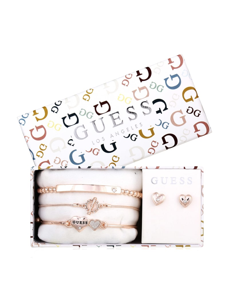 Rose Gold-Tone Dual Hearts Bracelets and Earrings Box Set