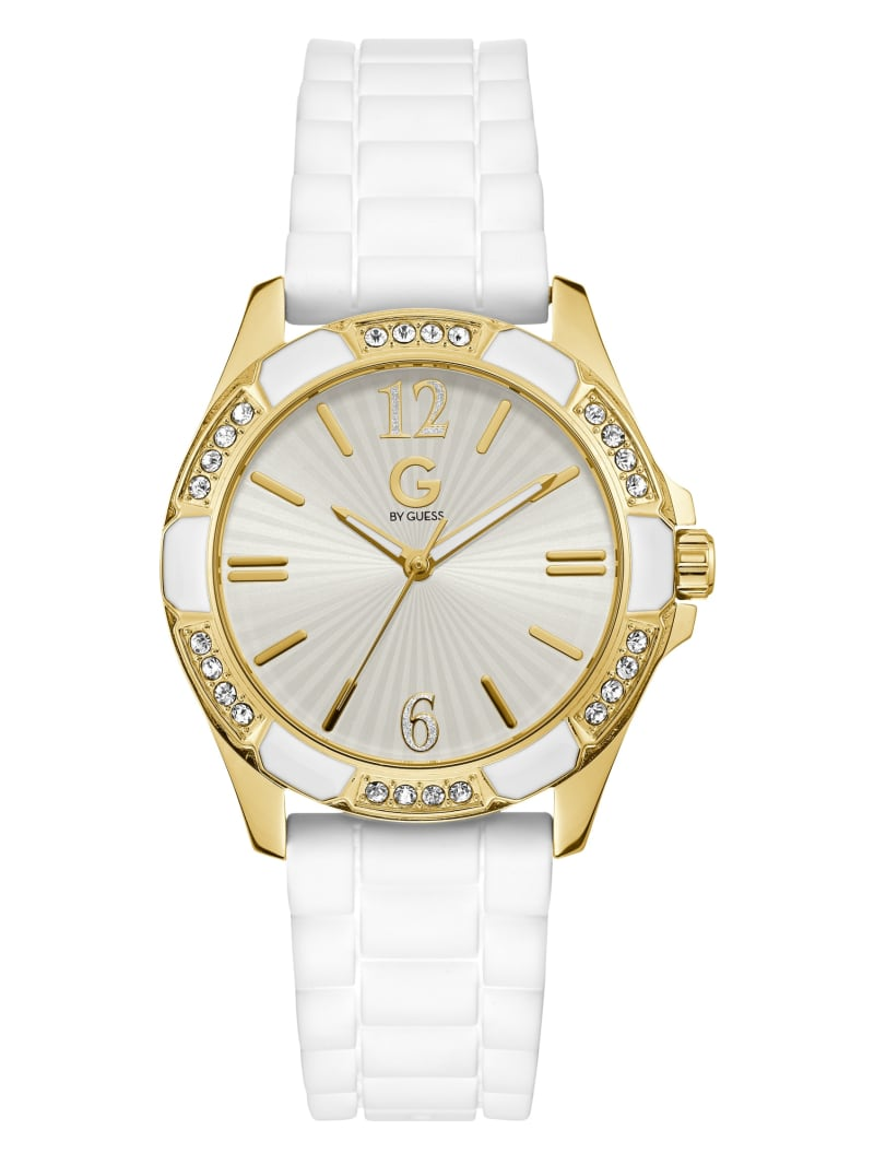 White and Gold-Tone Silicone Watch