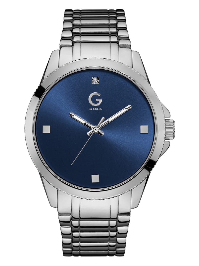 Silver-Tone and Blue Crystal Watch