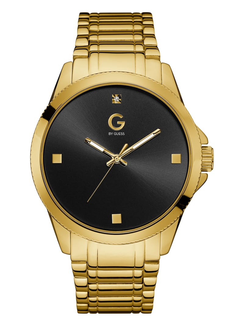 Gold-Tone and Black Crystal Watch