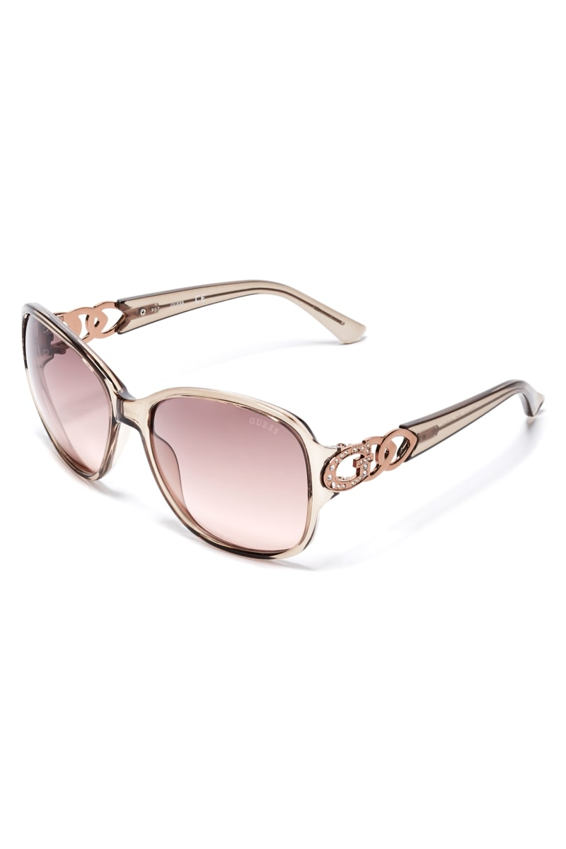 Oversized Chain-Trim Sunglasses