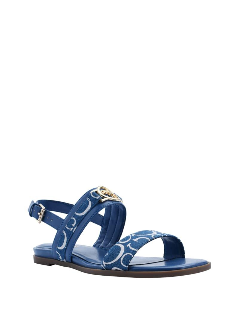 Carle Denim Logo Strap Sandals