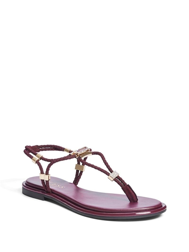 Coins Stretch T-Strap Sandals
