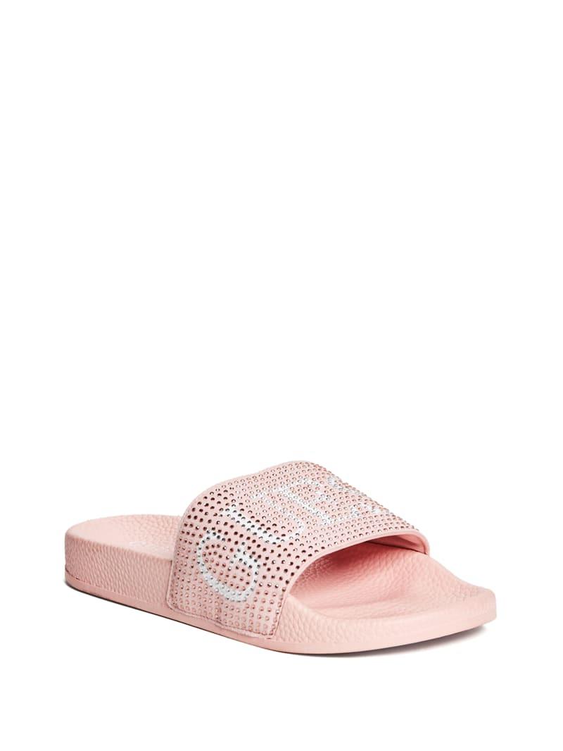 Susie Rhinestone Logo Slide Sandals