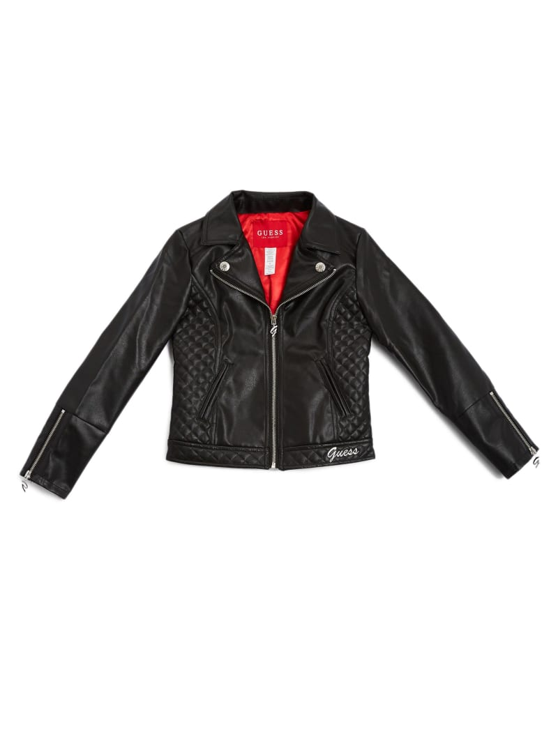 Faux-Leather Quilted Jacket (7-14)