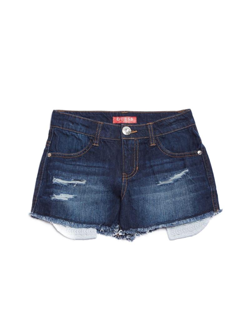 Leesa Crochet Ripped Denim Shorts (7-16)
