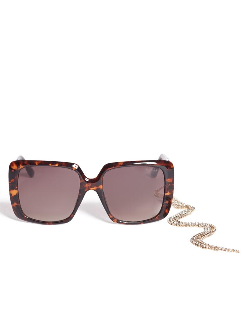 Rhinestone Chain Square Sunglasses
