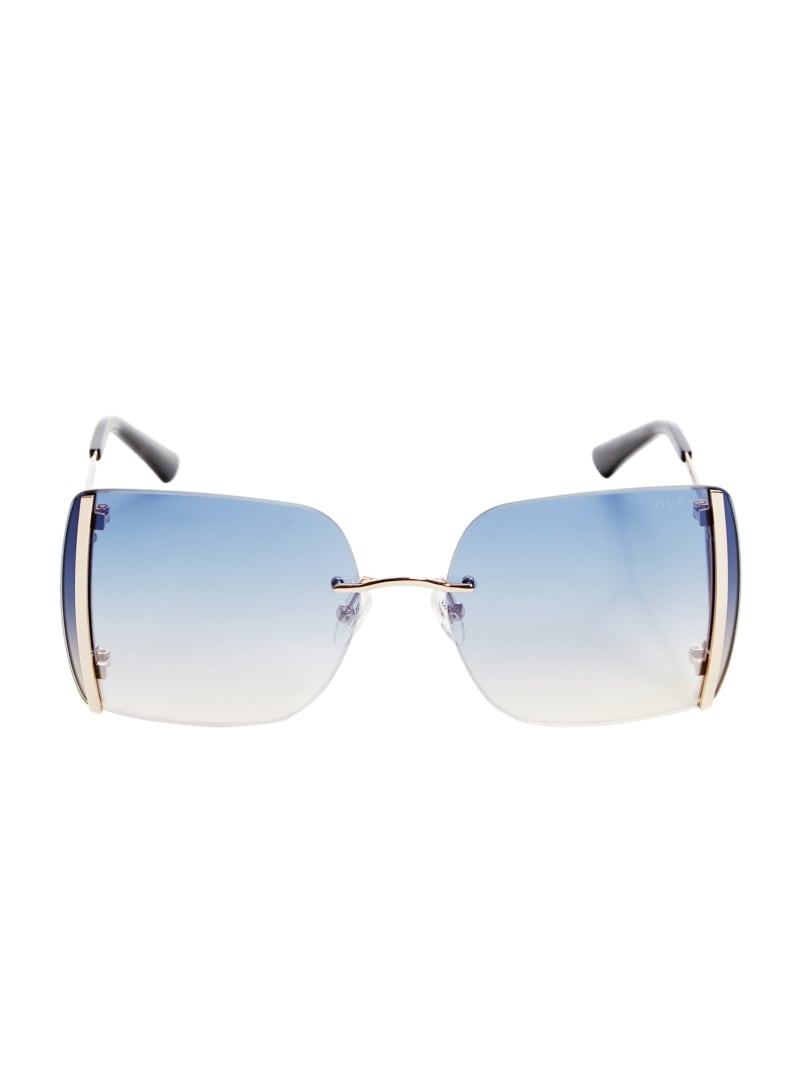 Gold Rimless Square Sunglasses