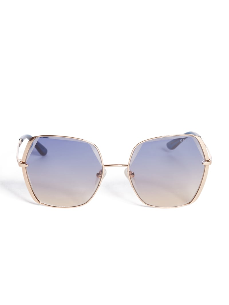Gold Rim Square Sunglasses