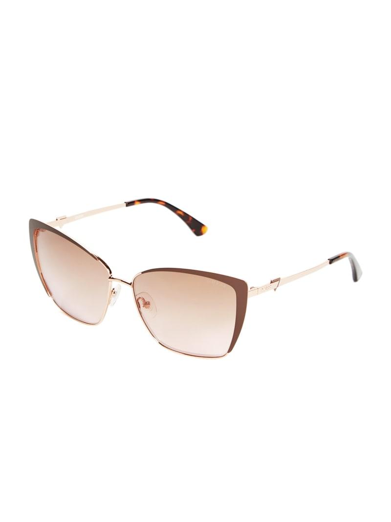 Cat-Eye Square Metal Sunglasses