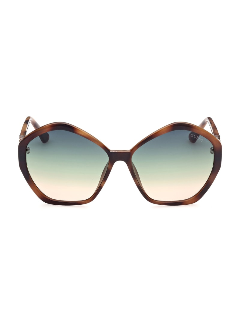 Oversized Geometric Logo Sunglasses