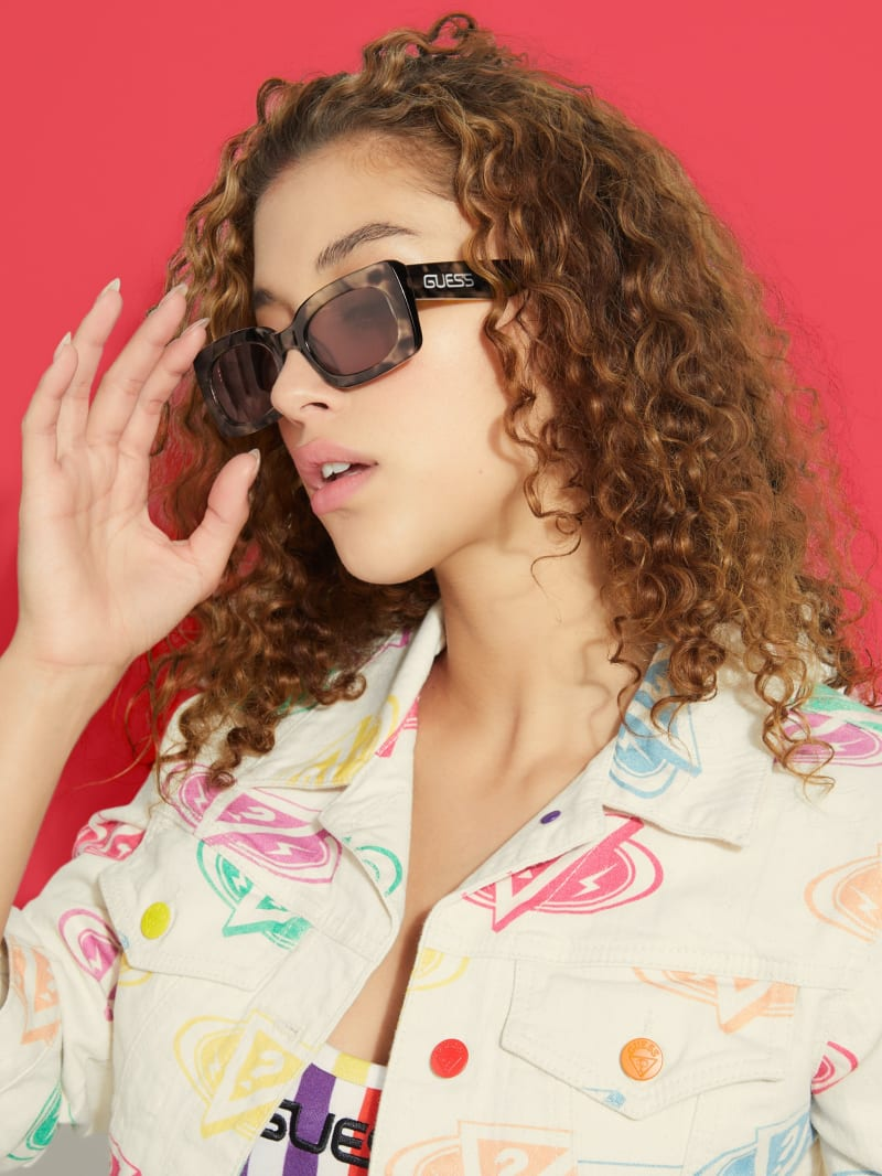 GUESS x J Balvin Shawn Tortoise Rectangle Sunglasses