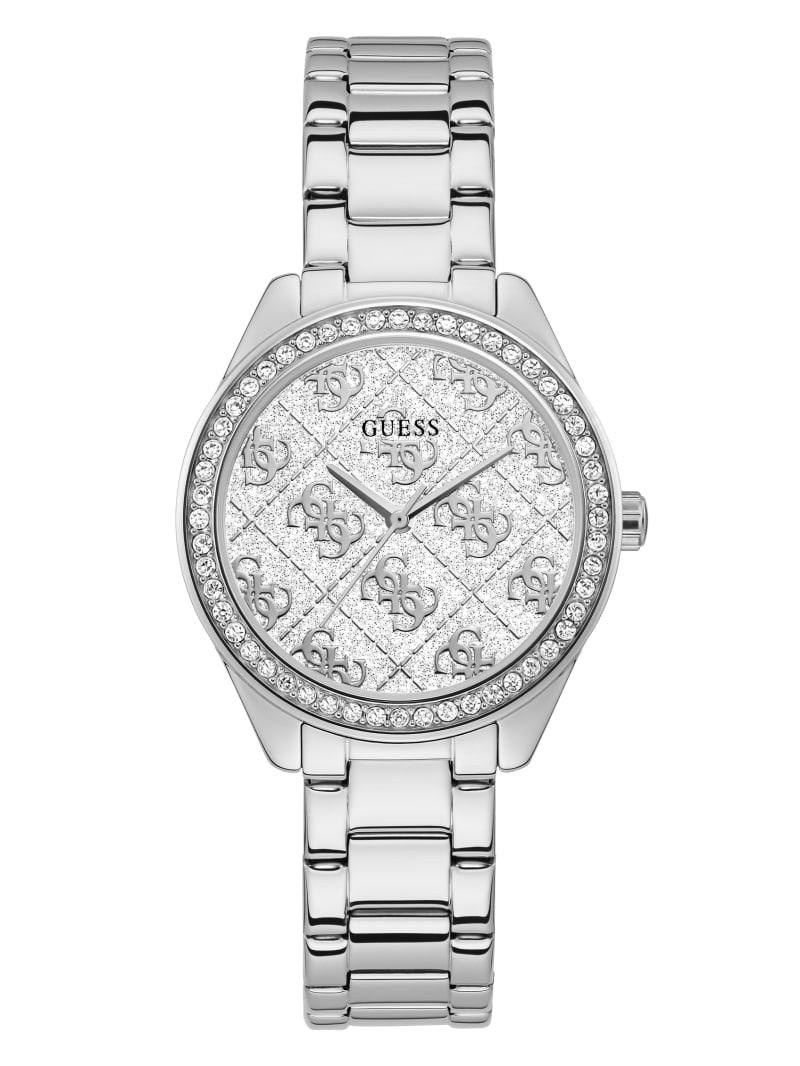 Silver-Tone Glitter Logo Watch