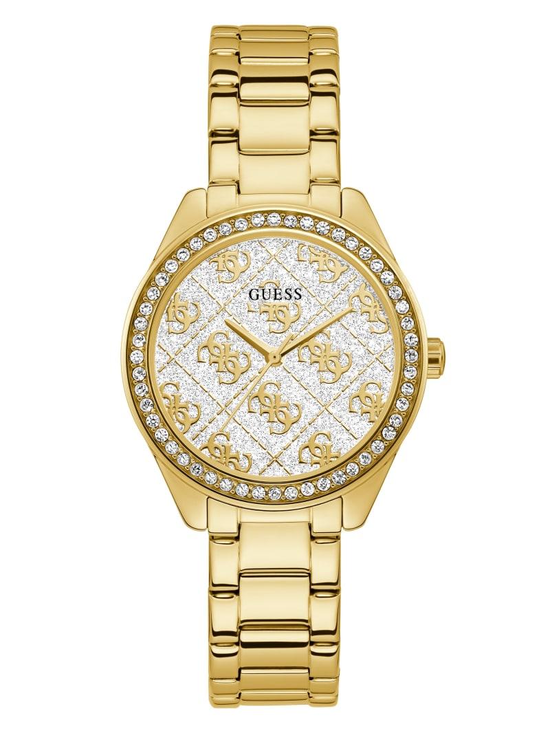Gold-Tone Glitter Logo Watch